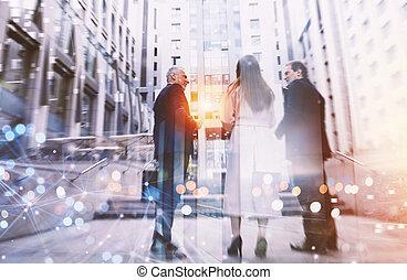 együtt., társas viszony, ügy, csapatmunka, fogalom, munka, emberek