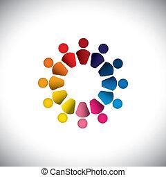 együtt, vagy, színes, játék, is, grafikus, emberek, vektor, gyerekek, graphic., konzerv, őt előad, circle-, barátság, play-school, befog, gyerekek, ikonok, épület, ez, elvont, elfoglaltság, csoport, fogalom, s a többi