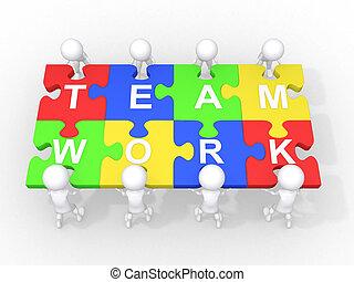 együttműködés, csapatmunka, fogalom, vezetés