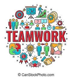együttműködés, csapatmunka, transzparens
