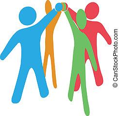 együttműködik, csatlakozik, emberek, kezezés feláll, együtt, befog