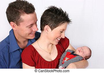 egy, család, boldog