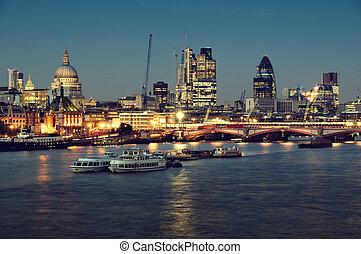 egy, london, város, night.