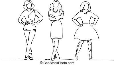 egy, rajz, lány, standing., három, egyenes, karcsú