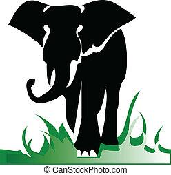 egyedül, ábra, elefánt