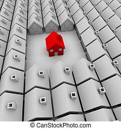 egyedül, épület, van, piros, egy