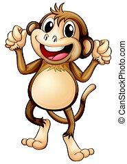 egyedül, boldog, majom, tánc