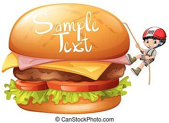 egyedül, fiú, cheeseburger, mászó