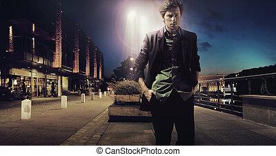 egyedül, gyalogló, éjszaka, ember, bús