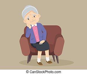 egyedül, nő, idősebb ember, ülés, pamlag