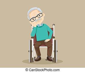 egyedül, nagyapa, tolószék, bús