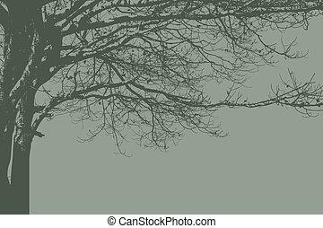 egyedül, vintage., vektor, árnykép, fa