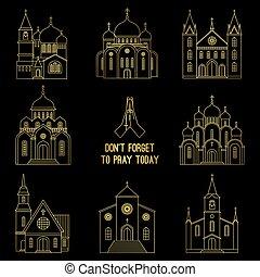 egyenes, állhatatos, keresztény, arany, templom