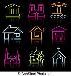 egyenes, építészeti, ikonok