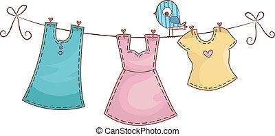 egyenes, öltözet, női, öltözék