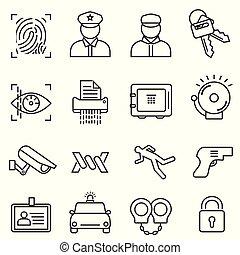 egyenes, biztonság, biztonság, állhatatos, ikon
