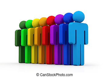 egyenes, csoport, emberek