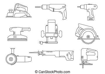 egyenes, eszközök, elektromos, icons.