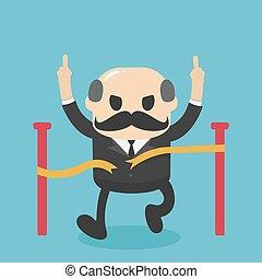 egyenes, főnök, befejez, fut, magabiztos, ábra, nagy, elhatározott, üzletember, karikatúra, fogalom