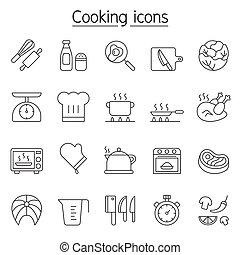 egyenes, főzés, állhatatos, mód, híg, ikon