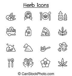 egyenes, fűszernövény, mód, állhatatos, híg, ikon