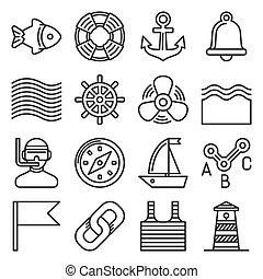 egyenes, fehér, ikonok, vektor, állhatatos, mód, vitorlázás, háttér., tenger