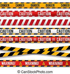egyenes, figyelmeztetés, magnószalag, rendőrség, figyelmeztet, lines.