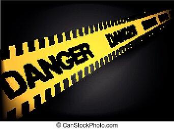 egyenes, figyelmeztet, veszély