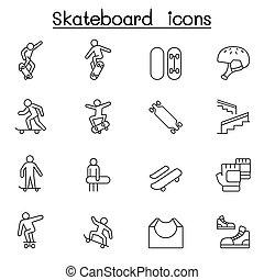 egyenes, gördeszka, mód, állhatatos, híg, ikon