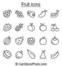 egyenes, gyümölcs, mód, állhatatos, híg, ikon