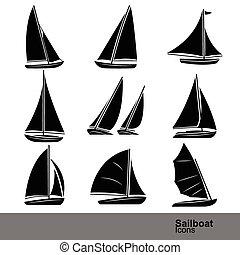 egyenes, ikon, állhatatos, vitorlás hajó