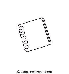 egyenes, ikon, vektor, könyv, egyszerű, híg, jelkép