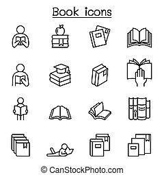 egyenes, könyv, ikon, állhatatos, mód, híg