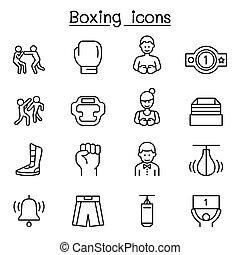 egyenes, mód, állhatatos, ökölvívás, híg, ikon