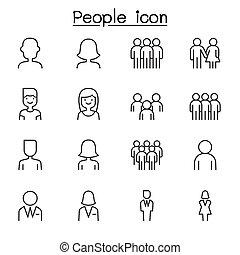 egyenes, mód, állhatatos, emberek, ikon, híg