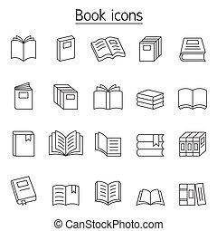 egyenes, mód, állhatatos, híg, könyv, ikon