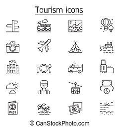 egyenes, mód, állhatatos, idegenforgalom, híg, ikon