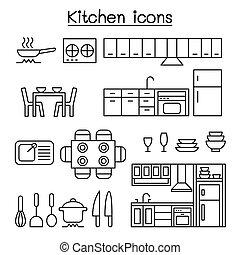 egyenes, mód, állhatatos, konyha, híg, ikon