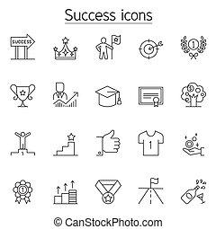egyenes, mód, állhatatos, siker, híg, ikon