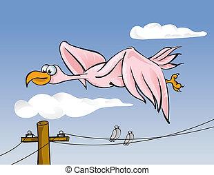 egyenes, madár, erő