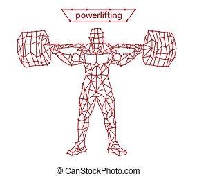 egyenes, powerlifting, vektor, powerlifting, divatba jövő, ábra, stilizált, árnykép, mozgalom