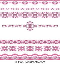 egyenes, rózsaszínű, díszítés, elvont