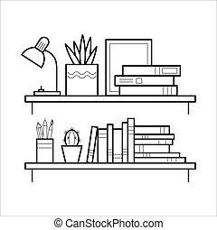 egyenes, style., könyvespolc, híg