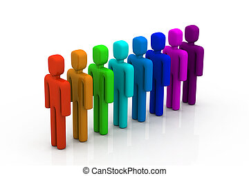 egyenes, színes, emberek
