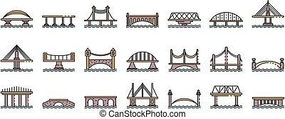 egyenes, vektor, bridzs, ikonok, állhatatos, szín