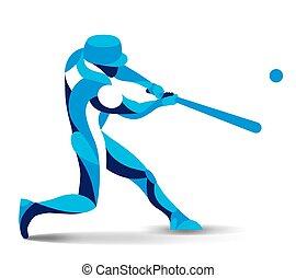 egyenes, vektor, divatba jövő, baseball játékos, ábra, játékos, stilizált, árnykép, mozgalom