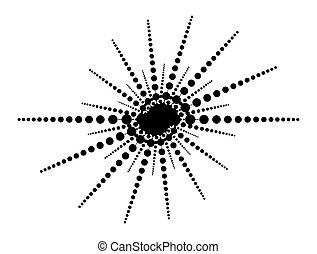 egyenes, vektor, nap, határ, pont, foci, tervezés, egyszerű, alakít