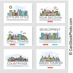 egyenes, vektor, város, épületek, égvonal, külvárosi, állhatatos, híg, különböző, tervezés, skyline., fogalom, ábra