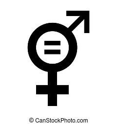 egyenlőség, illustration., ikon, vektor, nemz