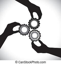 egyensúly, azokat, fogalom, patkószeg, &, graphic-, integrity., sync, közösség, 3, forgó, csapatmunka, egység, vektor, ábra, birtok, körvonal, tol, kéz, látszik